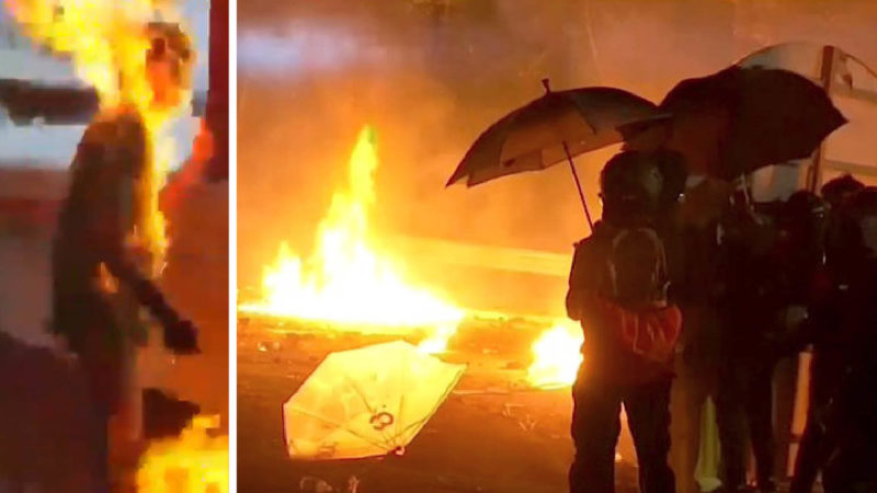 HONG KONG: US-CANVAS MOLOTOV' PACIFISTS: campus and subway burning, man set on fire, lawmaker stabbed