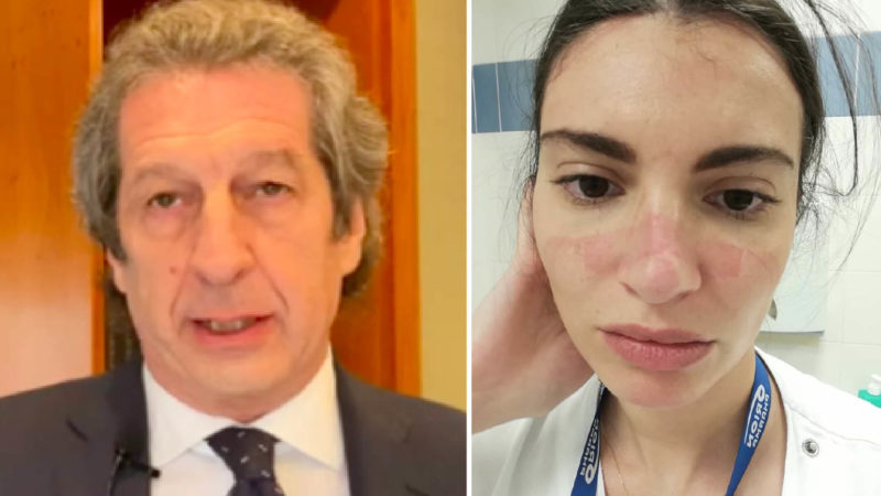 Italian Heroes against ConoraVirus: Roberto medician martyr. Martina nurse in Hospital's Trench