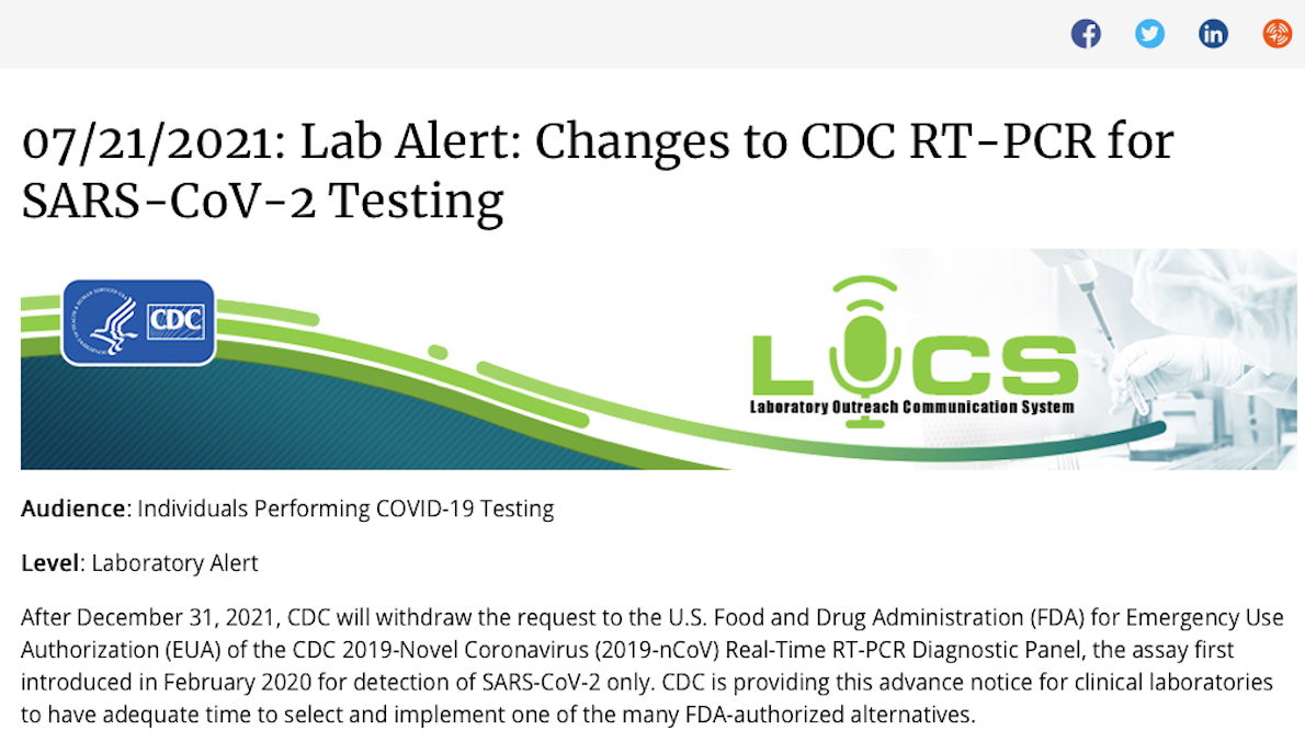 Breaking! US CDC Retires PCR Test due to It may not be able to Distinguish Covid from Influenza Viruses. Distorted Pandemic History!