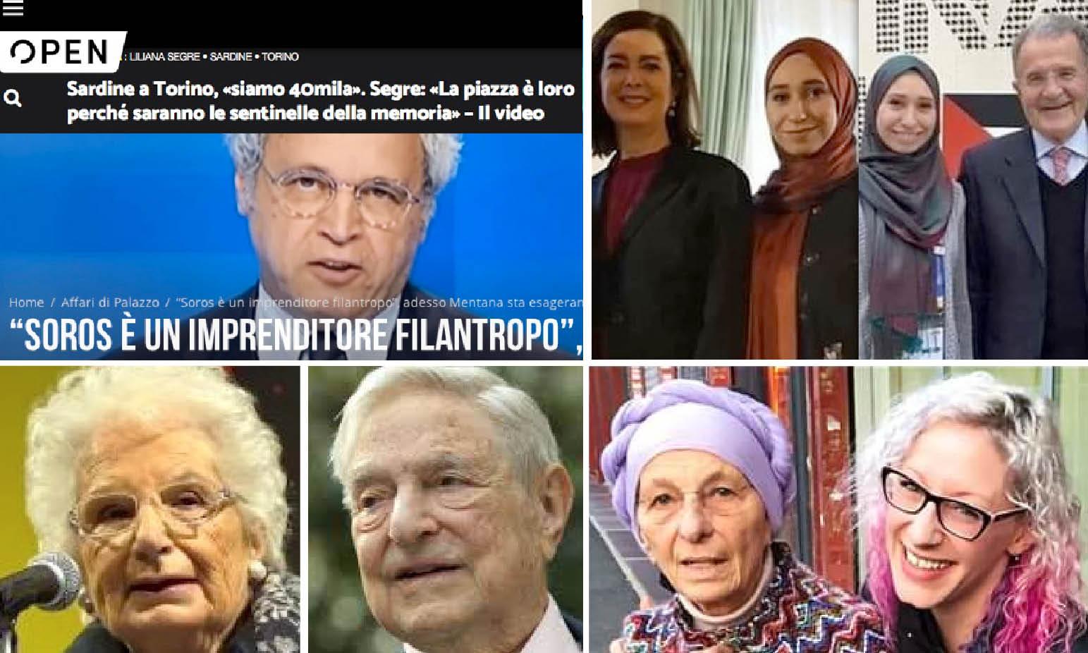 SARDINE, SOROS & Co… Da Prodi con Repubblica a Giulia attivista LGBT con Bonino e Cirinnà. Mentana PR con Segre madrina