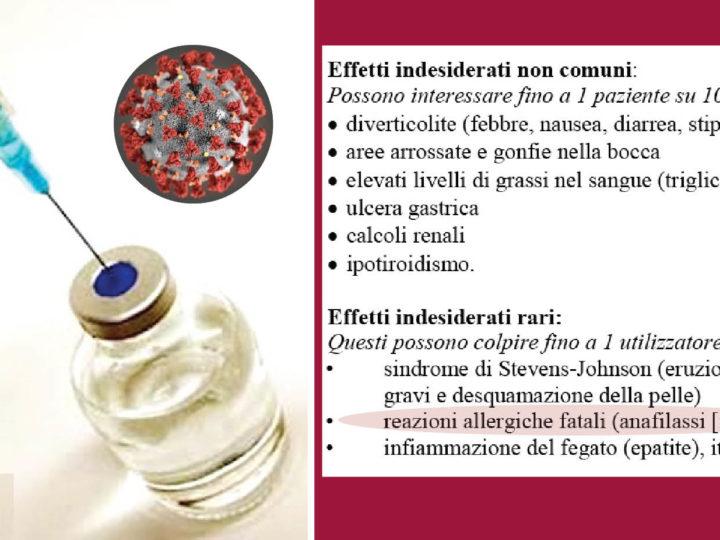 CORONAVIRUS: In Italia dilaga l'uso di un farmaco anche se può uccidere: per anafilassi