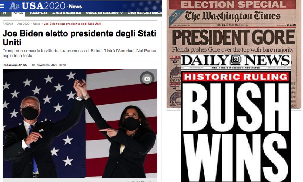 I MEDIA INCORONANO BIDEN PRESIDENTE MA TRUMP NON SI ARRENDE. Il caso di Gore presidente solo per 37 giorni