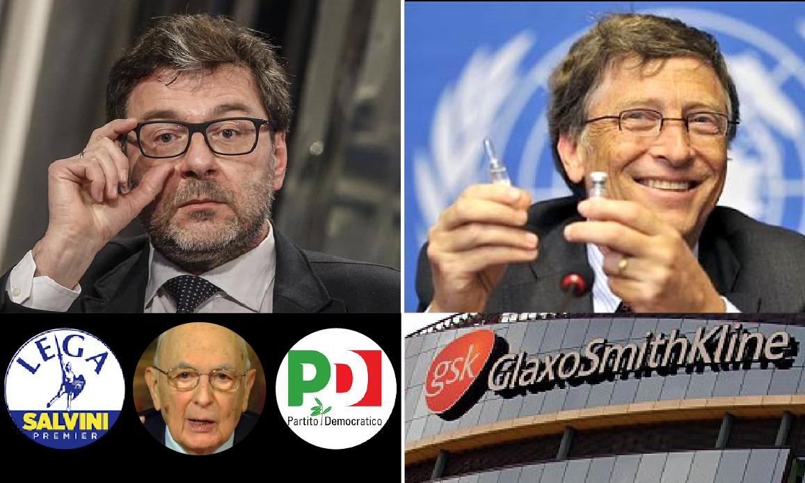 """NWO CONTRO L'ITALIA – 3: LEGA SI SVENDE A BIG PHARMA. Vaccini di Gates nel mirino del ministro Giorgetti: fu tra i """"Saggi"""" di Napolitano"""