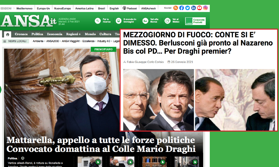 INCIUCIO MONDIALISTA DI MATTARELLA, PD, RENZI & BERLUSCONI PER DRAGHI. Come previsto da Gospa News