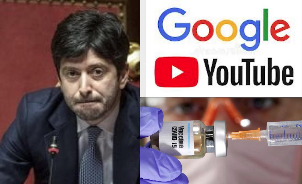 CENSURA DI STATO CON PARTNER DEI VACCINI ANTI-COVID! Vergognoso Accordo del Ministro Speranza con Google e YouTube