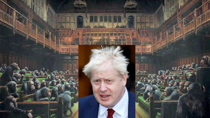 THE BANSKY'S MONKEYS IN UK PARLIAMENT with the BoJo gorilla in the Brexit glassware