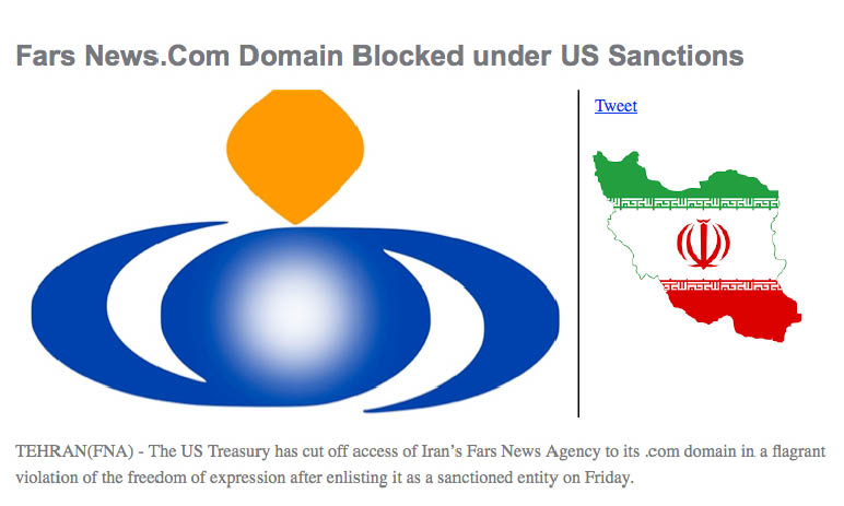 "Leading Iranian News Agency's Website Blocked by Us ""illegal move"". Cyber-war going on…"