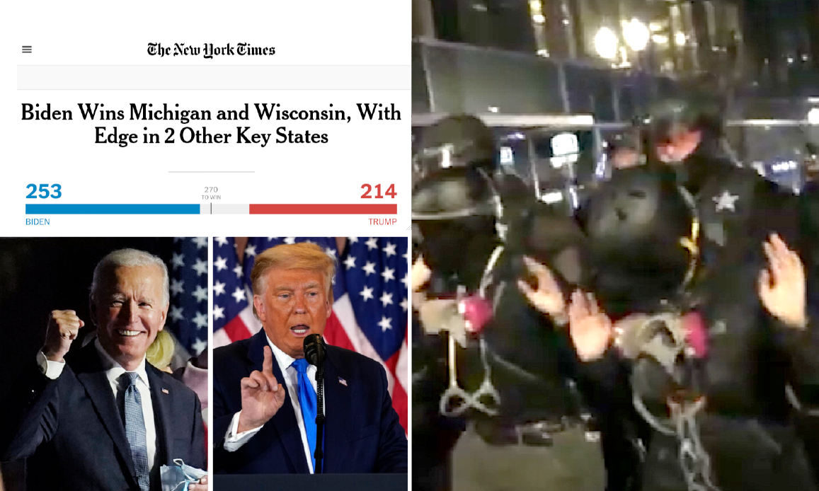 US ELECTIONS. Mistakes, Mysteries and Civil War's Nightmare. NYT contests FOX data. AntiTrump Rioters arrested in Manhattan and Portland