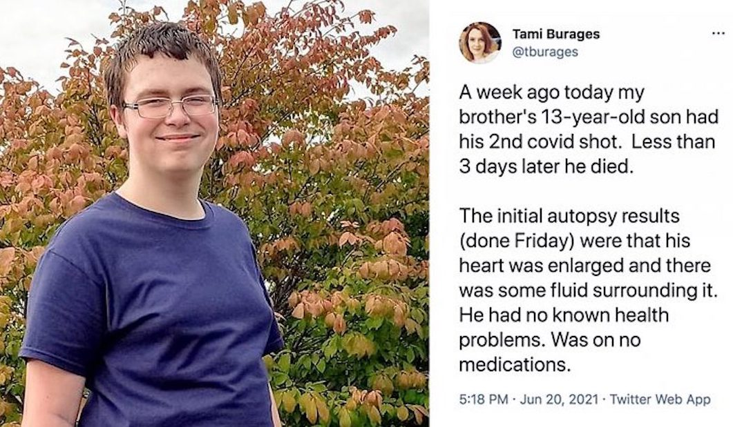 13-Year-Old US Boy Dies 3 Days After Second Dose of Pfizer Vaccine. With Symptoms as Myocarditis which affected 1200 American Teen