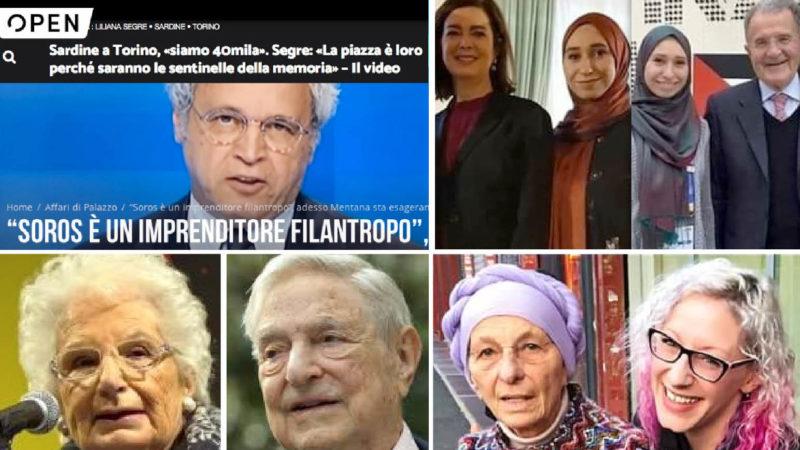 """SARDINE, SOROS & Co… Nibras con Boldrini, Prodi e marito """"pro-Hamas"""". Giulia attivista LGBT con Bonino e Cirinnà. Mentana PR con Segre madrina"""