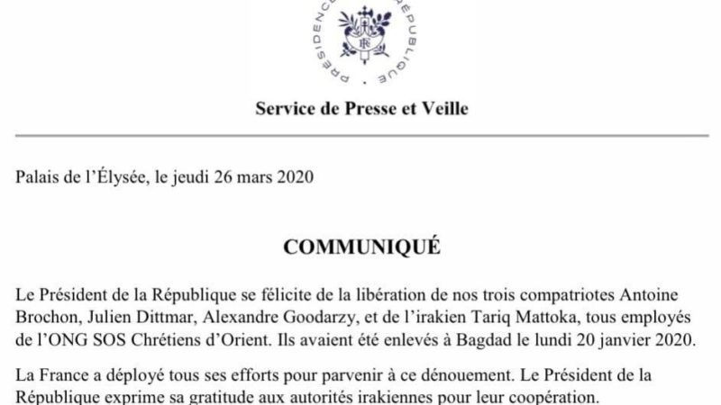 LIBERATI I CRISTIANI RAPITI A BAGHDAD: Operatori di ONG francese. Sequestrati dopo la reporter islamica