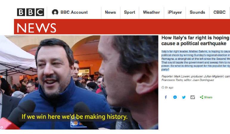 """Anche la Tv britannica BBC ha paura del """"TERREMOTO POLITICO SALVINI"""" in Emilia! Perciò intervista sardine e antifascisti"""