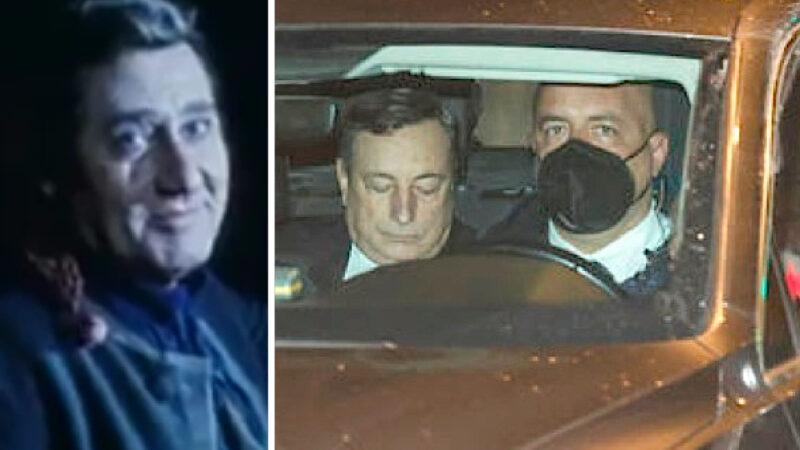 """DRAGHI SMARCHERATO! In auto senza DPI… Si sente già come Sordi nel Marchese del Grillo: """"Io so' io e voi non siete un… """""""