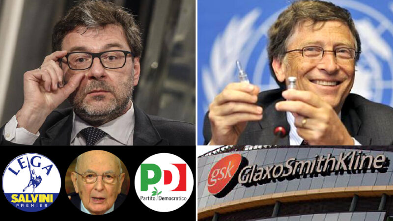 """COMPLOTTO NWO CONTRO L'ITALIA – 3: LA LEGA SI SVENDE ALLE BIG PHARMA. Vaccini di Gates nel mirino del ministro Giorgetti: fu tra i """"Saggi"""" di Napolitano"""
