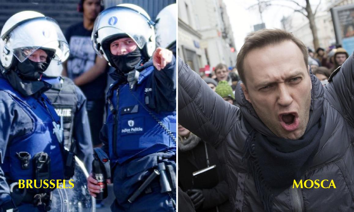 IPOCRITA UE, FAKE MAINSTREAM: Bruxelles può arrestare chi protesta per il Lockdown, Mosca non può incarcerare il pregiudicato Navalny