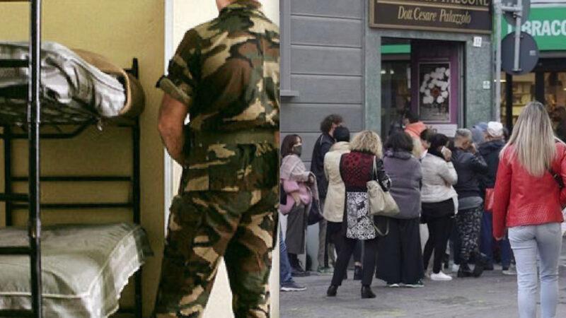 FOLLE GREEN PASS! Militari Sfrattati da Caserme. 2milioni di Lavoratori a Rischio per Farmacie in Tilt coi Tamponi. Boom Certificati di Mutua